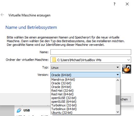Unterstützte Systeme in VirtualBox