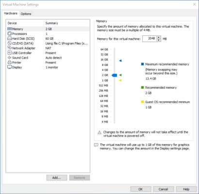 Virtual Machine Settings in VMWare Workstation Player