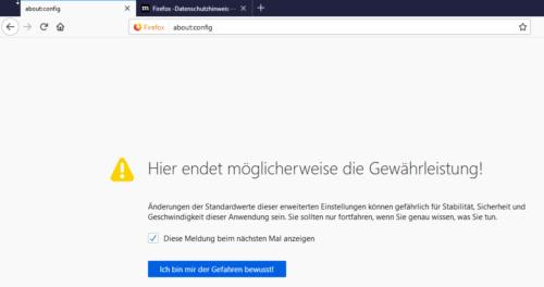 Warnung vom Browser bei Auruf von about:config