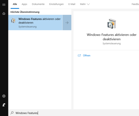 Windows-Features aktivieren, um Hyper-V in Windows 10 zu installieren