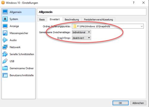 Zwischenablage in VirtualBox aktivieren