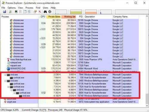 conhost.exe-Prozesse im Process Explorer