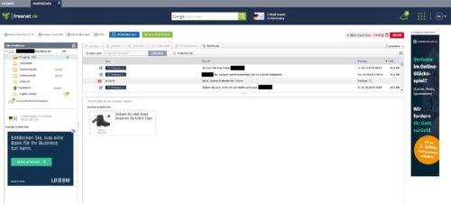 Posteingang mit Nachrichten-Liste des kostenlosen E-Mail-Anbieter FreenetMail