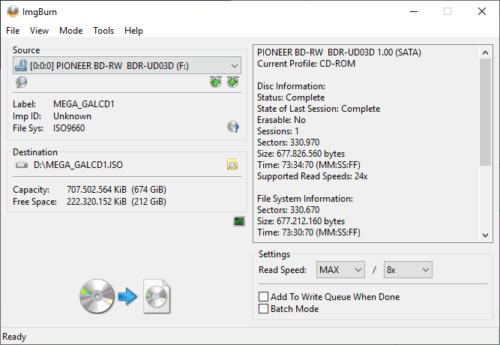 imgburn erstellte ISO-Datei