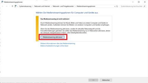Medienstreaming unter Windows 10 aktivieren