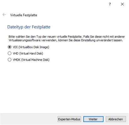 Virtuelle Festplatte in verschiedenen Formaten