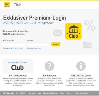 Login-Seite des Web.de-Club