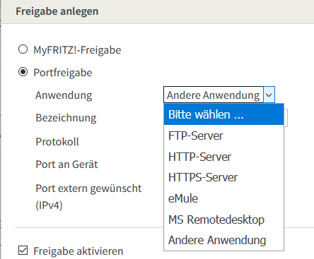Serverliste in der FRITZ!Box