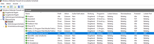 Fertige Portfreigabe unter Windows