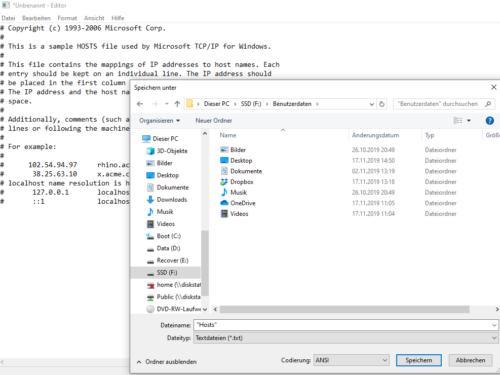 Hosts-Datei Windows 10 zurücksetzen
