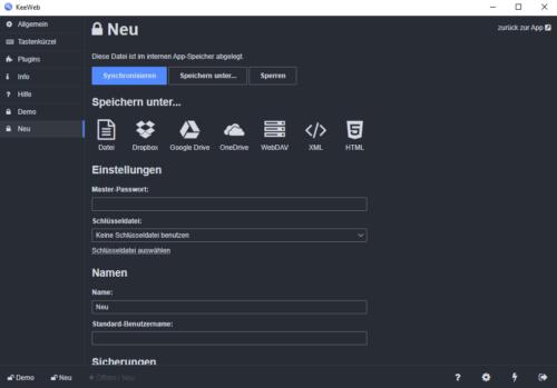 KeeWeb unterstützt auch Cloud-Speicher