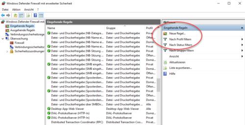 Über die Windows 10 Firewall Port freigeben