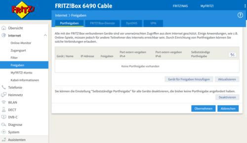 Fritzbox Port freigeben