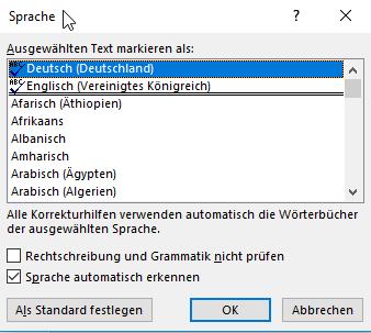 Sprache für den ausgewählten Text