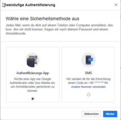 Wahl einer Authentifizierung-App