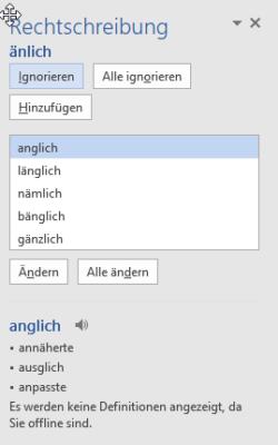 Word Rechtschreibprüfung in der Seitenleiste rechts