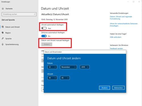 Uhrzeit und Datum in Windows 10 einstellen