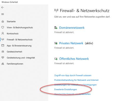 erweiterte Einstellungen der Firewall