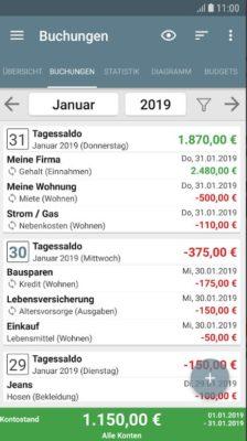 Screenshot der Mein Haushaltsbuch App