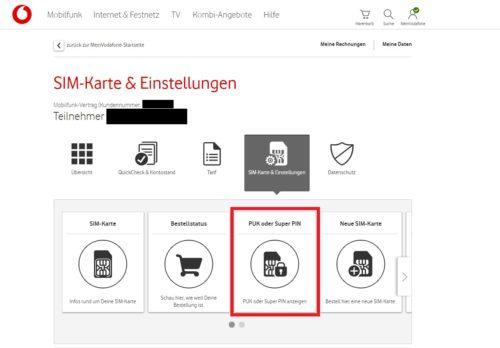 SIM Karte gesperrt: PUK in mein Vodafone anzeigen