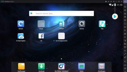 Bedienoberfläche des NoxPlayer Android Emulator für Windows 10