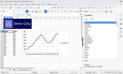 Office kostenlos: Screenshot von LibreOffice Calc