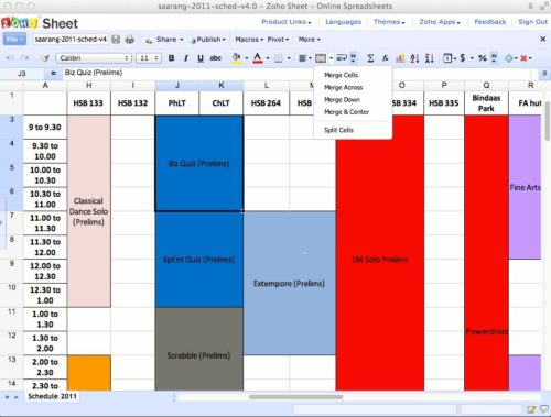 Tabellen kostenlose erstellen und bearbeiten in Zoho Sheets