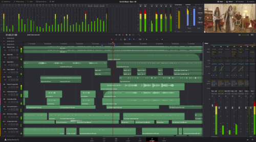 Screenshot von Fairlight in DaVinci Resolve