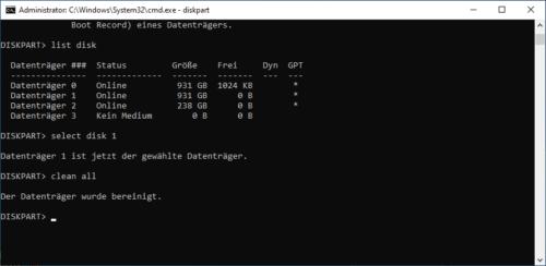 Datenträger mit Diskpart bereinigt