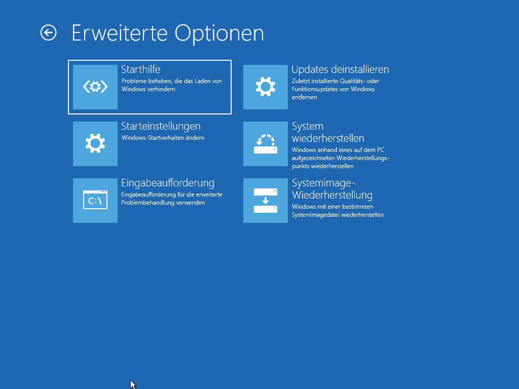 Erweiterte Optionen beim Start von Windows 10