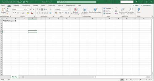Arbeitsmappe in Excel 365