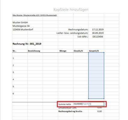 Excel Rechnungsvorlage Formeln eingeben
