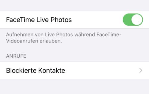 FaceTime Live Photos
