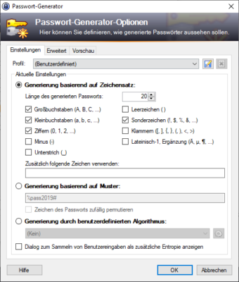 Passwort-Generator gibt es auch im kostenlosen Passwort-Manager