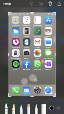 Screenshot mit dem iPhone erstellt