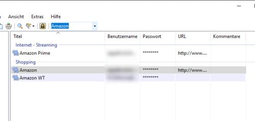 Suche im Passwort-Manager