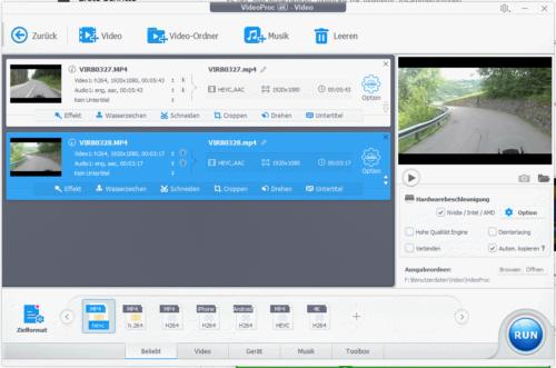 VideoProc 4K Videobearbeitung