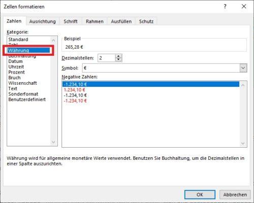 Rechnungsvorlage in Excel erstellen: Zellen formatieren