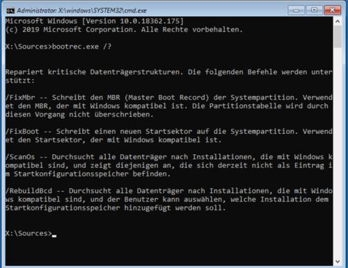 Parameter von Bootrec.exe
