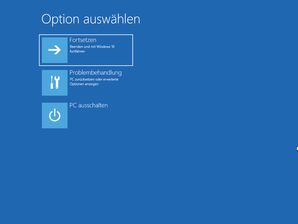 erweiterte Startoptionen in Windows 10