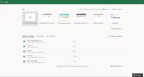 Ansicht von Excel online