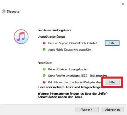 iTunes Diagnose iPhone wird nicht erkannt