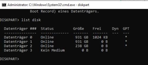 list disk mit Diskpart