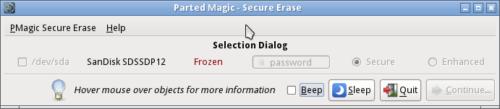 SSD ist frozen