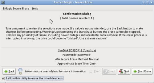 Mit Parted Magic SSD sicher löschen