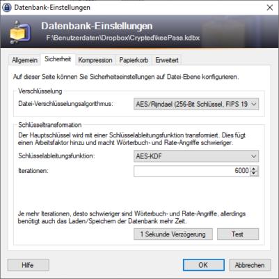 verschlüsselte Datenbank von KeePass