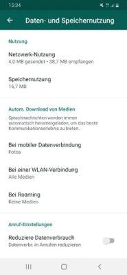 WhatsApp Daten- und Speichernutzung einstellen