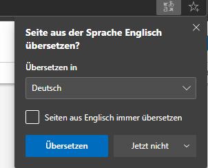 Übersetzung in Edge