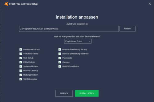 Antivirus kostenlos von Avast