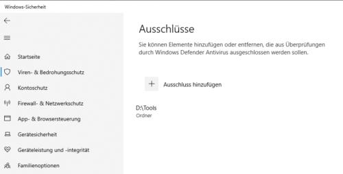 Ausschlüsse im Windows Defender